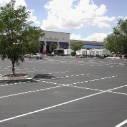 Parking lot striping and layout